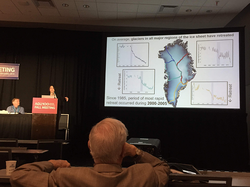 Michalea King giving her talk at AGU