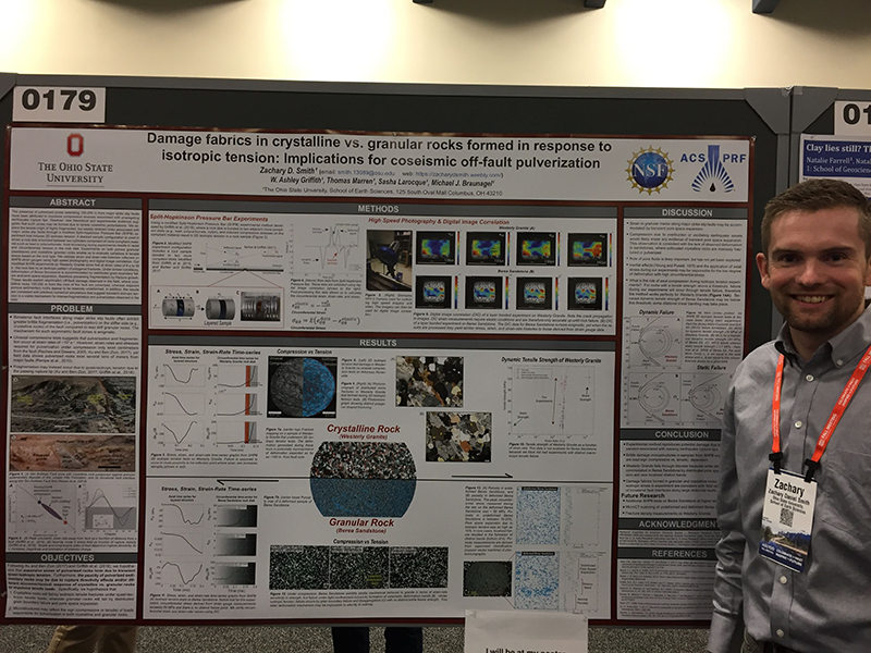 Zachary Smith standing next to his research poster