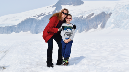 Debbie Carlo and her son on top of Mendenhall Glacier