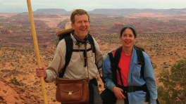 Mahoney and his wife on a hike in a desert