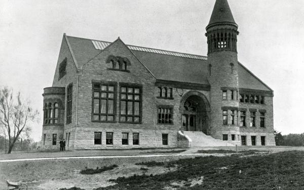 Black and white photo of Orton Hall from 1895