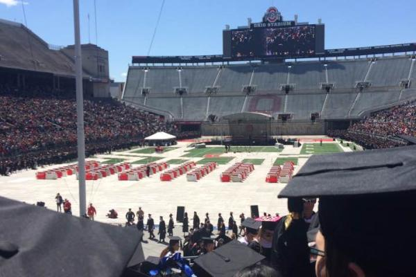 Standard commencement ceremony in Ohio Stadium from the graduating student's point of view