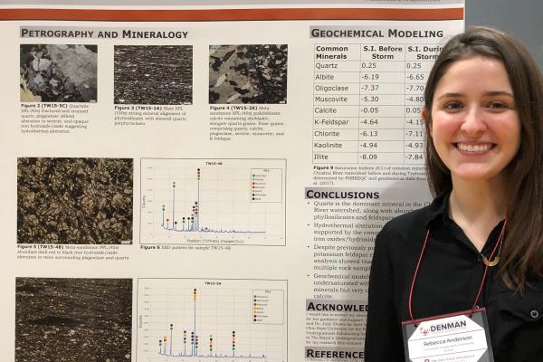 Becky Anderson stands at her poster at thee 2019 Denman Conference