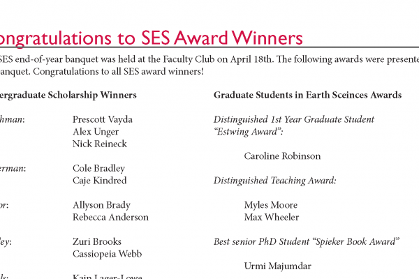 Congratulations to 2017 SES Award Winners