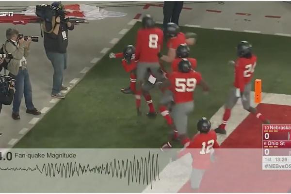 FanQuakes at the Shoe: Fan celebrations at Ohio Stadium register on a seismic scale