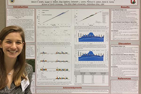 Student Devin Smith stands next to her poster on stable isotope geochemistry of urban precipitation.