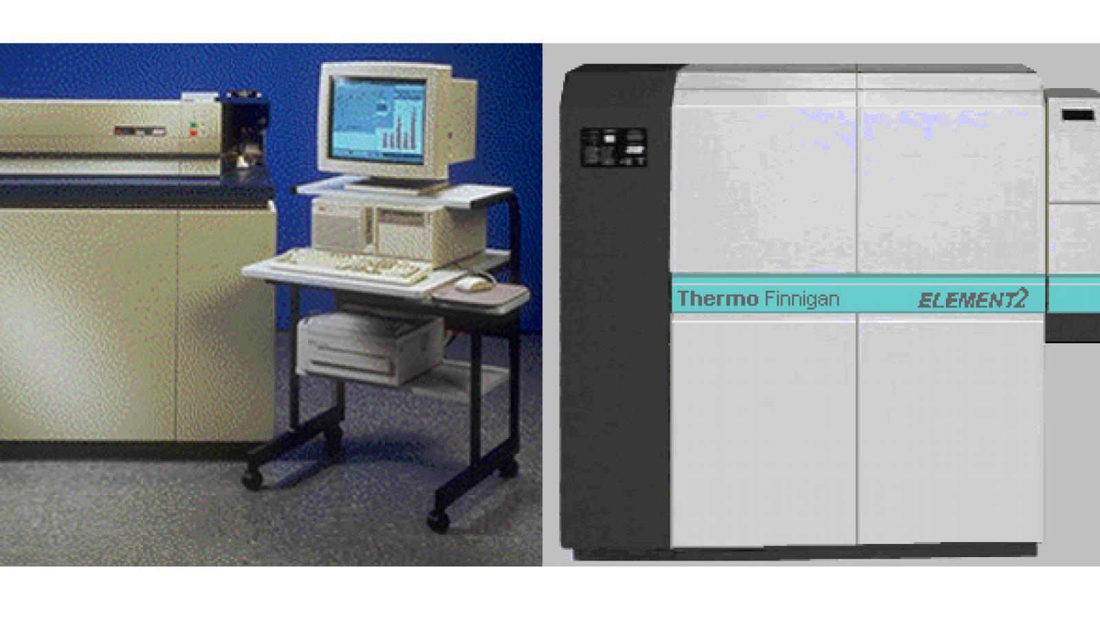 The Perkin-Elmer Sciex ELAN 6000 (left) and the ThermoFinnigan Element 2 (right).