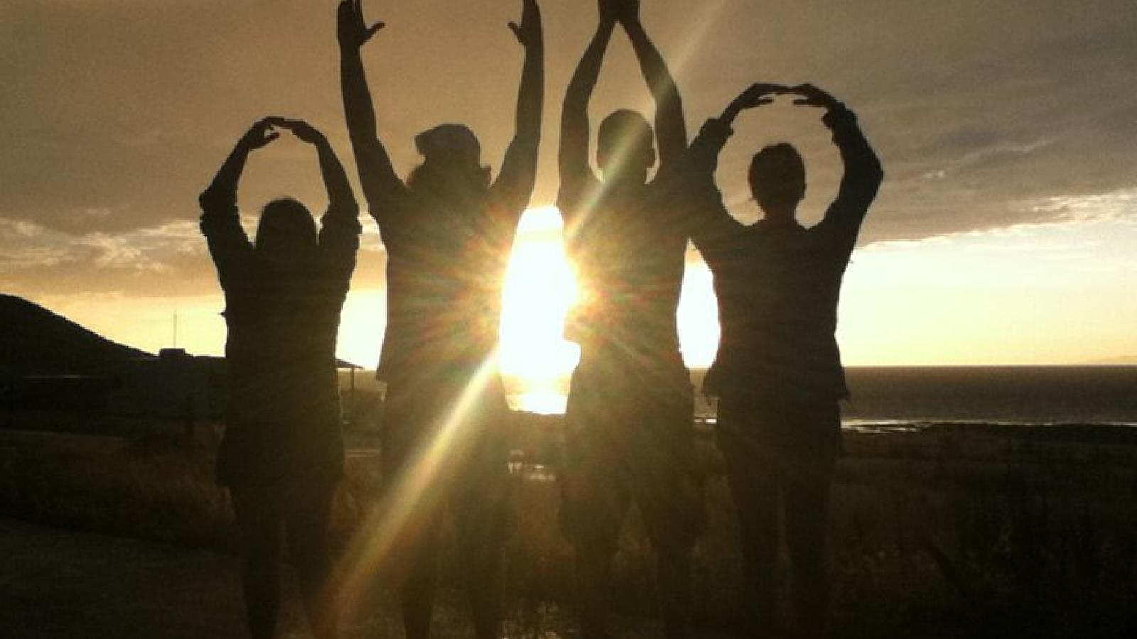O-H-I-O at sunset on Field Camp