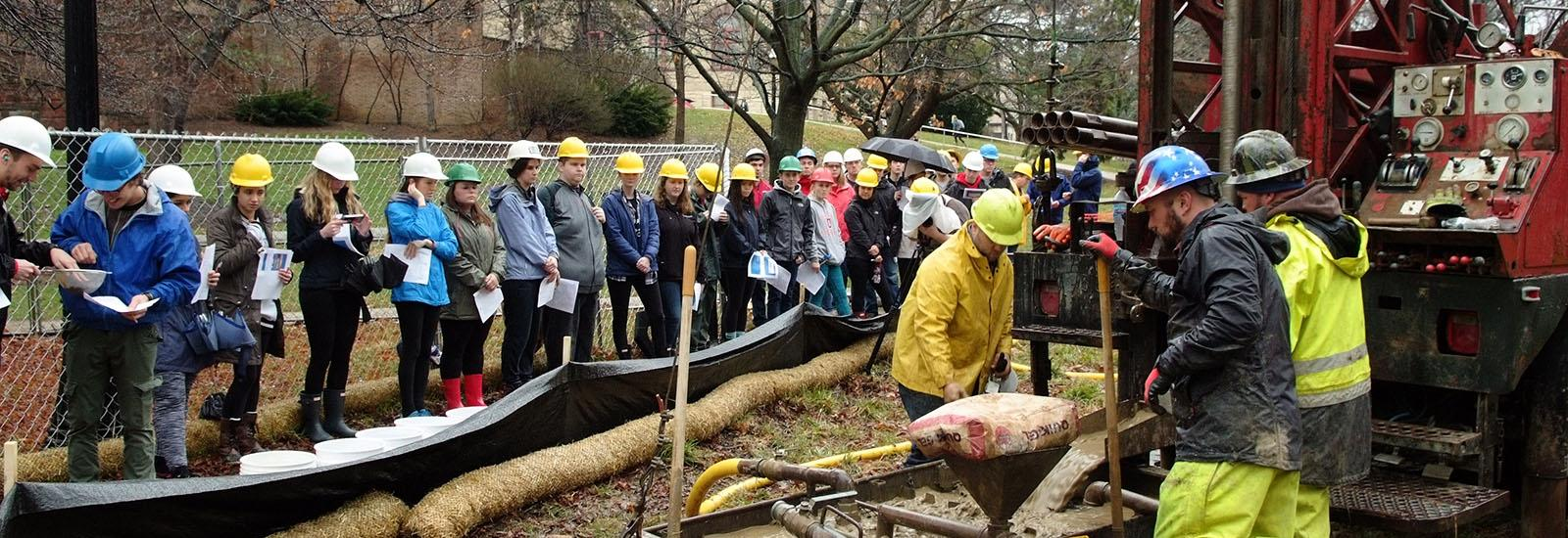Students observe the Mirror Lake Drilling Project